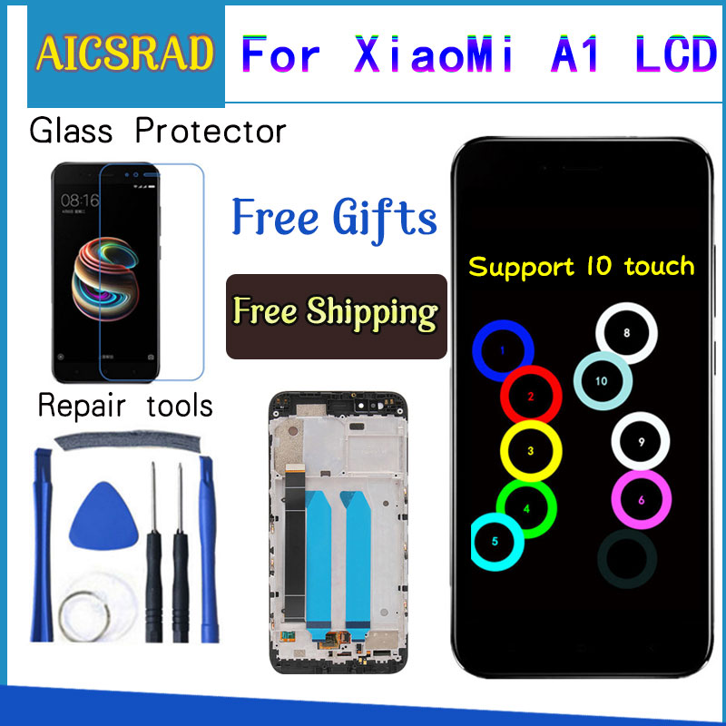 For Xiaomi Mi A1 LCD Display + Frame 10 Touch Screen Xiaomi Mi 5X LCD Digitizer Assembly TouchScreen Panel Replacement Spare Par