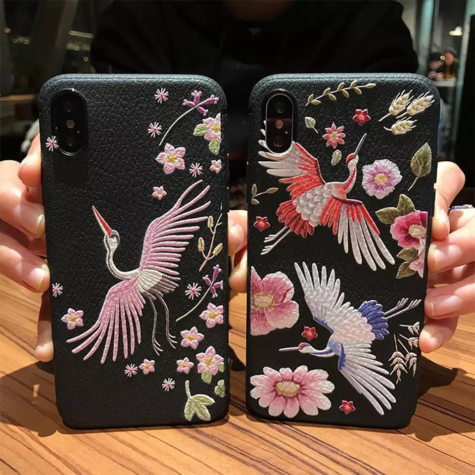 Tmoxen 3D Embroidery Phone Case for IPhone 7 8 plus x Red-crowned craner soft silicon Cover cases for Iphone 6 6s Plus