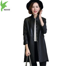 High Quality Imitation Leather Female Costume Spring Autumn Winter Single Floor Leather Temperament Casual Tops Coat OKXGNZ A463
