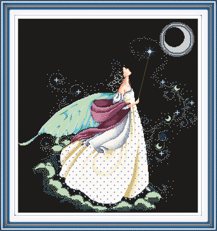 Moon fairy cross stitch package beauty 14ct 11ct black deep blue flaxen canvas cotton thread beads embroidery DIY needlework