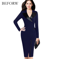 BEFORE Women Sexy Pencil Dress Autumn Winter Long Sleeve Solid Color Office Plus Size Dresses Fashion