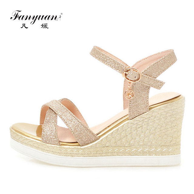 72844a297dc596 Fanyuan Summer ladies Wedge Sandals girls Wedding Party Bling Platform  sandals high heel sandale femme women Ankle strap shoes