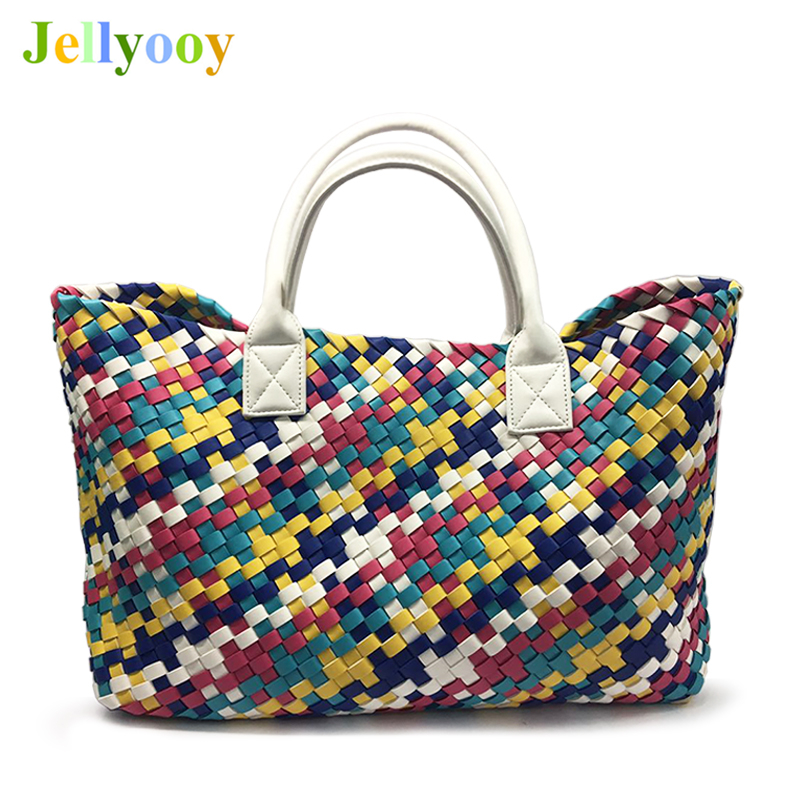 цены на Luxury Ladies Woven Leather Cross Stitch Hobo Handbag Women Large Woven Design Shopping Bag Colorful Casual Tote Sac A Main 2018 в интернет-магазинах