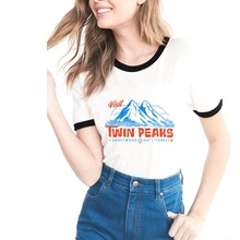 Funny Twin peaks Printed T shirt Women Cotton Casual Shirt Top Tee for Girl lady Hipster streetwear ringer tshirt Drop Shipping men ringer tee