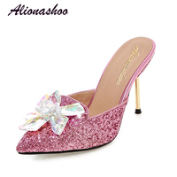 Alionashoo 2018 Fashion Big Crystal Bling Slippers Women Sexy Pointed Toe Mules Shoes Casual Flip Flops Sandals Summer Slides 43