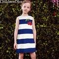 Vestidos de Festa de meninas com Cereja Impresso Marca 2017 Crianças Costume para a Roupa Das Meninas Listrado Azul e Branco Robe Princesse Fille