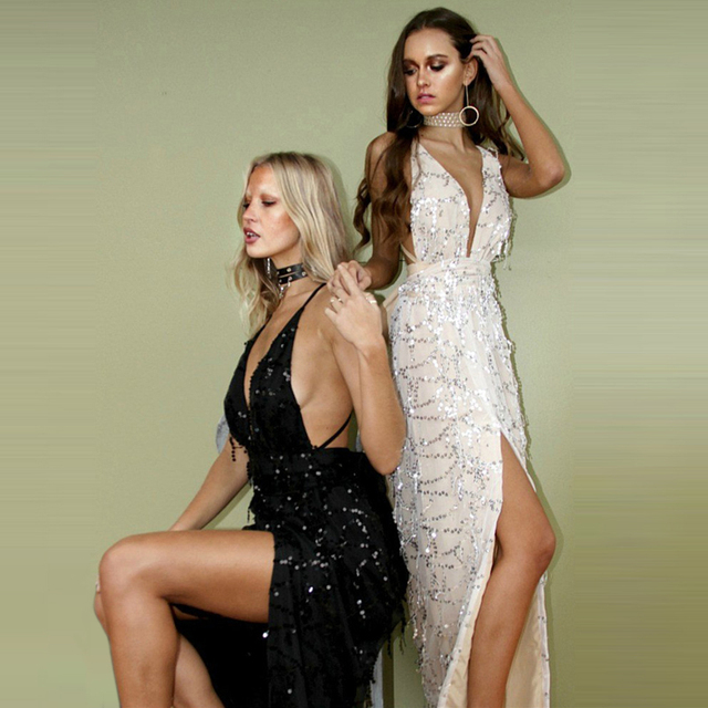 Women Black Sequined Split Maxi Dress  Summer Sexy Deep V neck spaghetti strap Backless Long Dresses vestido longo