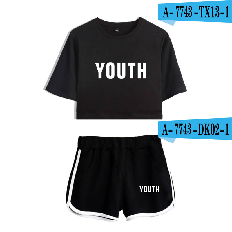 Shawn Mendes Two Piece Set Cropped Short Sprotswear Printed Women Clothes Summer Top And Shorts Set Tracksuit