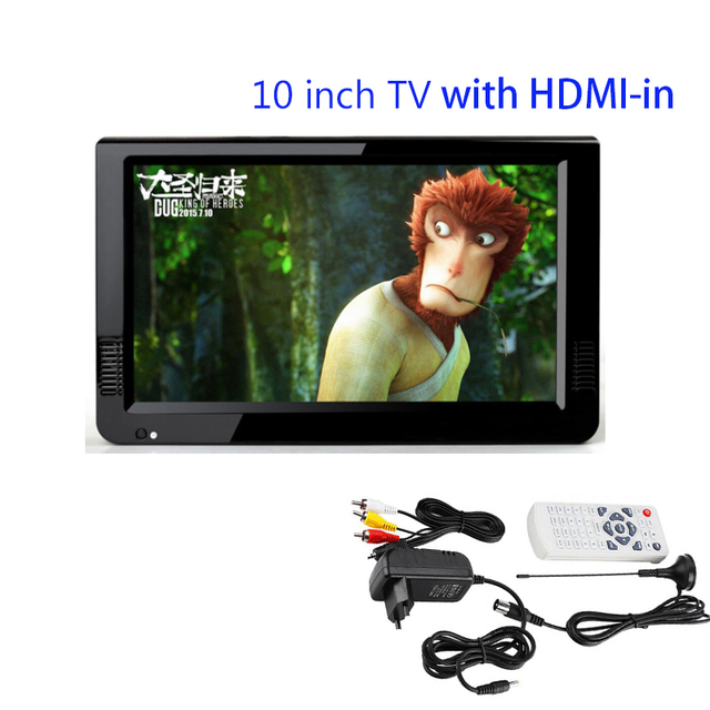 """HDMI VGA 2017 NEW Televisions Portable TV 10.2"""" TFT Portable Multimedia Player With USB /SD,U DISK/TV Tuner"""