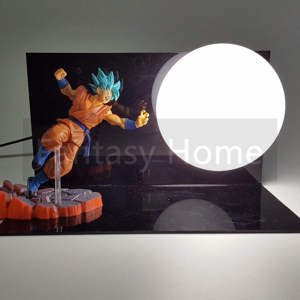 Dragon Ball Z Action Figure Son Goku Resurrection F DIY Display Toy Dragonball Z Blue Goku Dragon DBZ+Base +Bulb DIY33 6 15cm dragon ball z figure toys resurrection f golden freezer frieza son goku anime dbz collectible model dolls