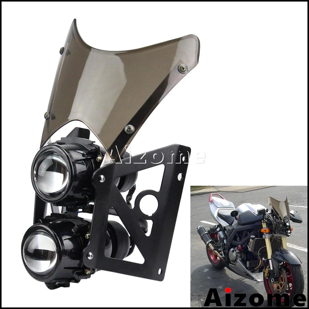 Universal Motorcycle Dirt Bike Twin Headlight W/ Bracket Streetfighter Projector Dual Sport Headlamp Headlight W/ Wind Screen