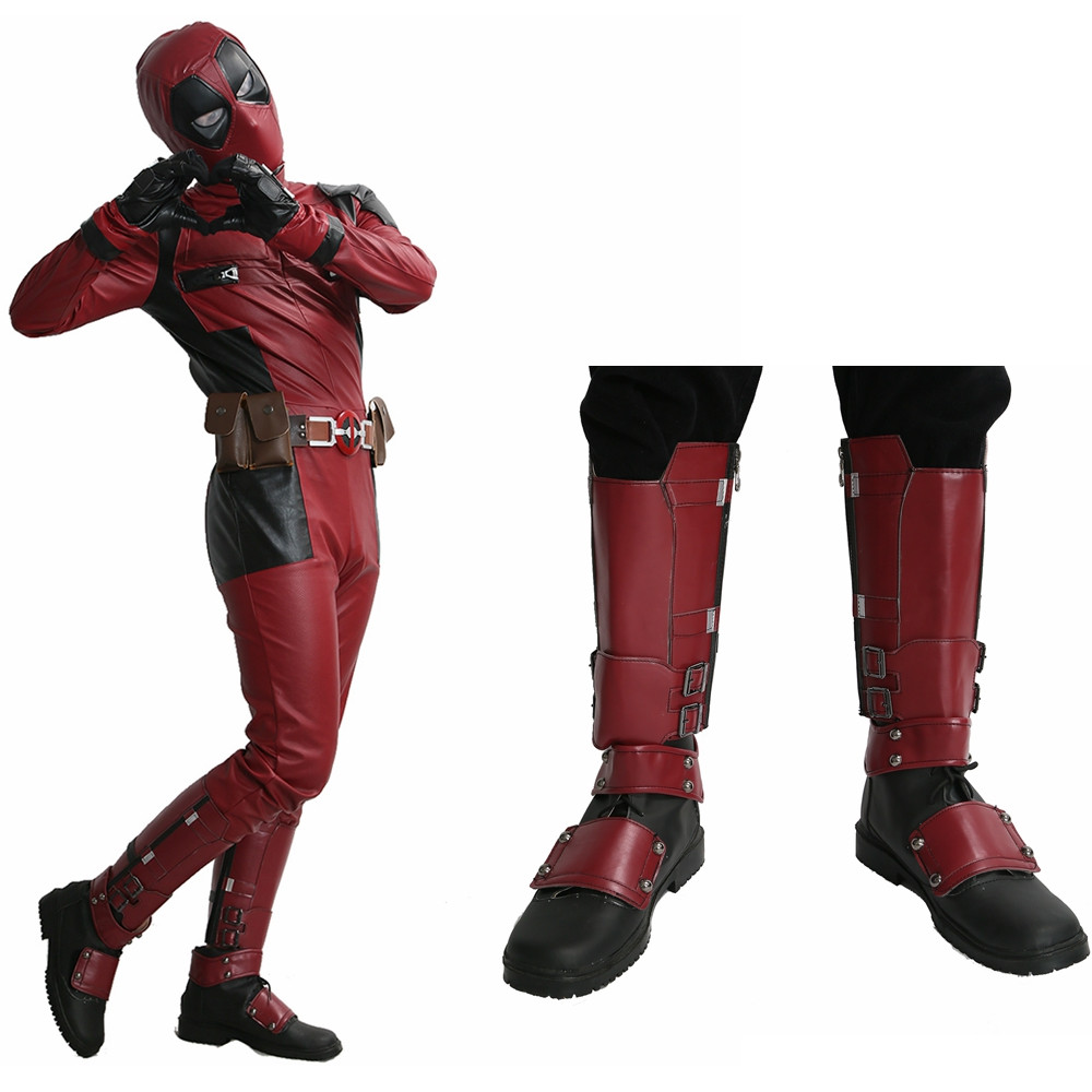 Deadpool Boots Superhero Wade Wilson Shoes Cosplay Accessories Adult Men Halloween Christmas Party Cosplay Boot Hot Sale 2018