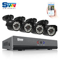 ANRAN 4CH 1080N HDMI DVR 4PCS CCTV System 720P 1800TVL HD Outdoor Bullet Camera AHD Home