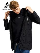 Pioneer obóz nowy czarny długi trencz mężczyźni znane marki cienkie wiosna 100 nylonowy płaszcz męski AJK705297 tanie tanio Wykop Skręcić w dół kołnierz REGULAR STANDARD Pełna Drukuj Pioneer Camp Konwencjonalne Batik Kieszenie zipper NONE