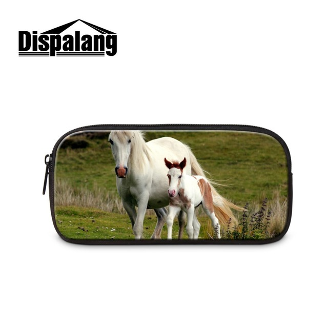 Dispalang Animal Horse Pencil Bags for Children Cute White Horses Pattern Cosmetic Cases Zippered Large Pen Bags for Boys School
