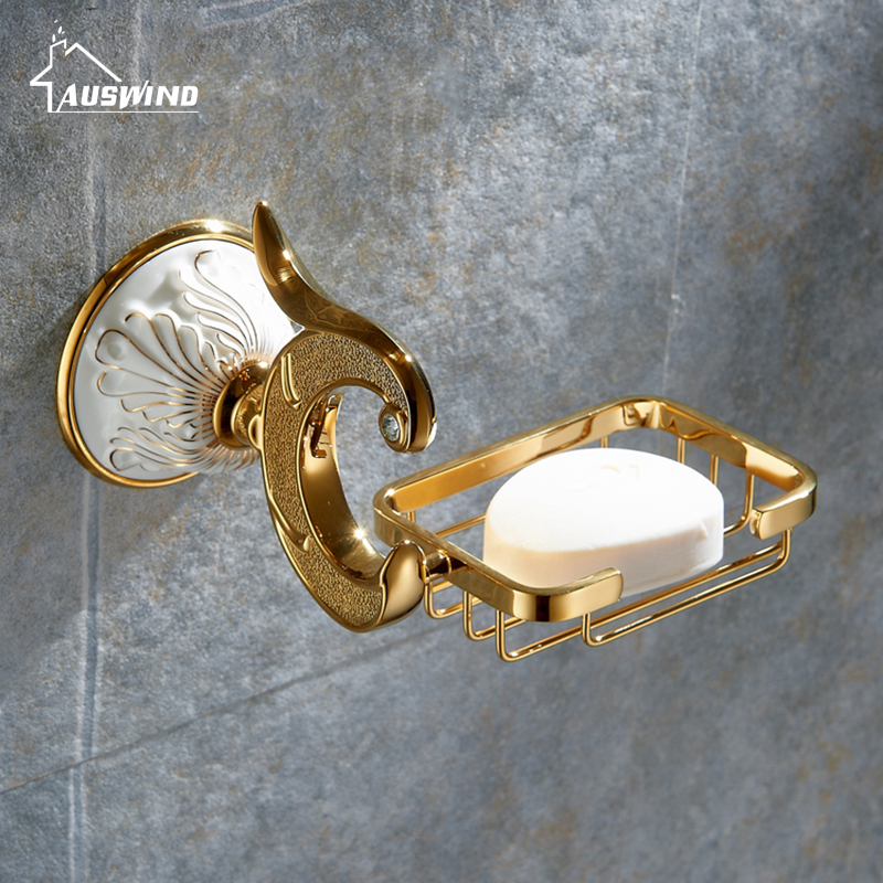 European Soap Dishes Gold Finish Brass Soap Dish Wall Mounted Bathroom Accessories Bathroom Furniture Toilet Soap Holder european style brass black oil brushed solid brass bathroom soap holder ceramic cup soap basket bathroom accessories