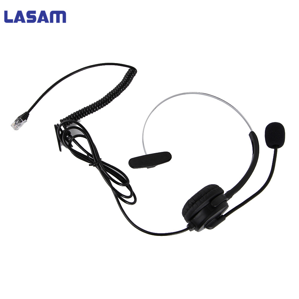 LASAM Call Center Telephone /IP Headset With Adjustable Boom Mic 4-pin RJ9 Modular Connector For 3Com Aastra Alcatel-Lucent