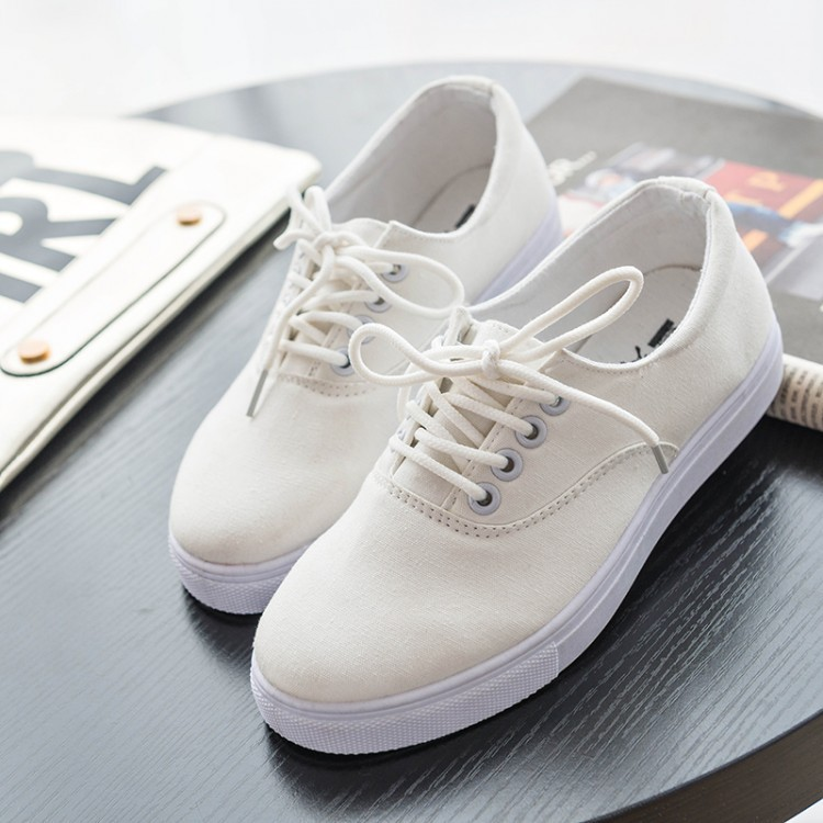 82e7eef7149f Student Cloth Shoes brand female solid white black Canvas Shoes women pedal  living shoes rubber soles sneakers for girls