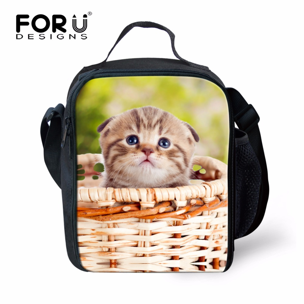 FORUDESIGNS Cute Cat Insualted Lunch Picnic Bag For Kids Funny Students Children Lunchboxs Girls Food Thermal Lancheira Animals