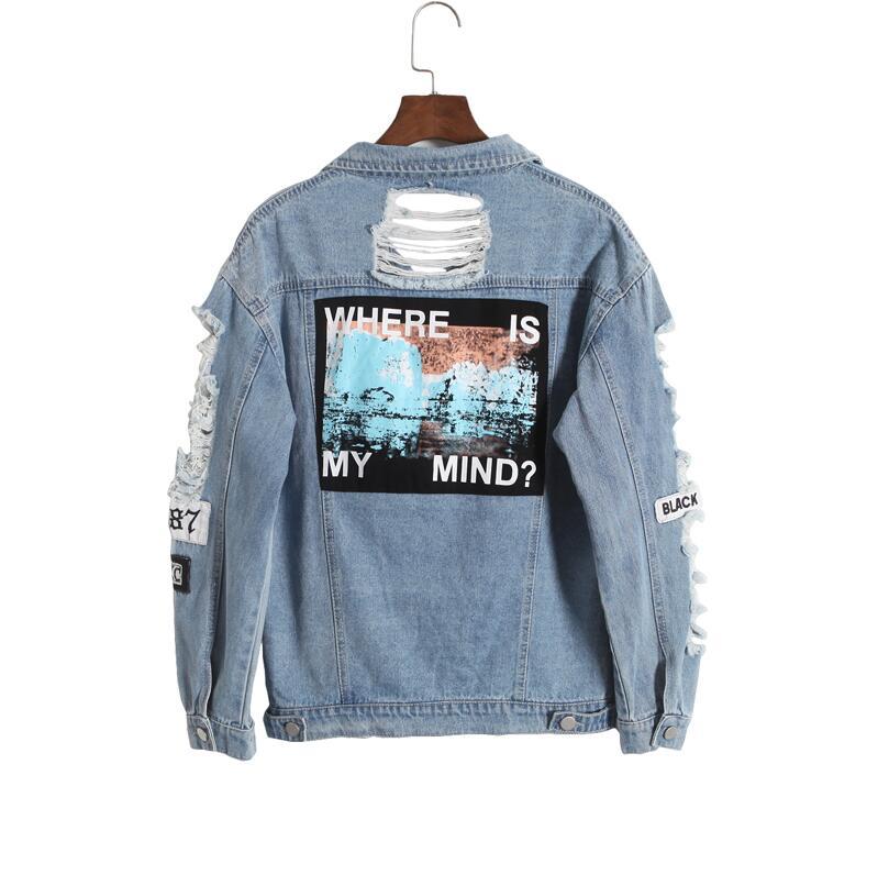 Corea retro lavado deshilachado bordado letras suelta espalda parche jeans chaqueta