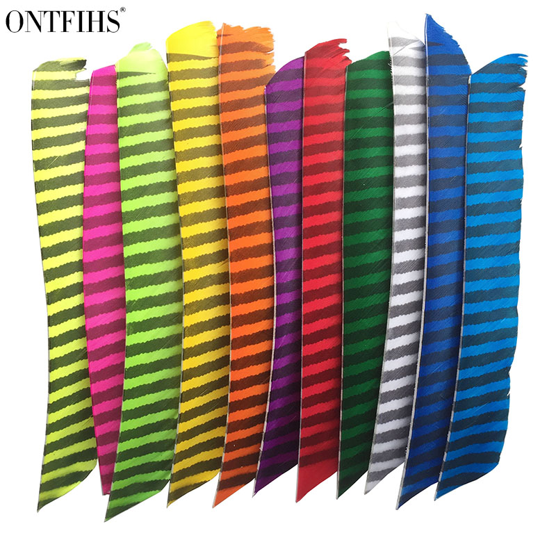 ONTFIHS Right WING Archery Fletches Striped One Side Full length Real Turkey Feather Arrow Feather Fletchings
