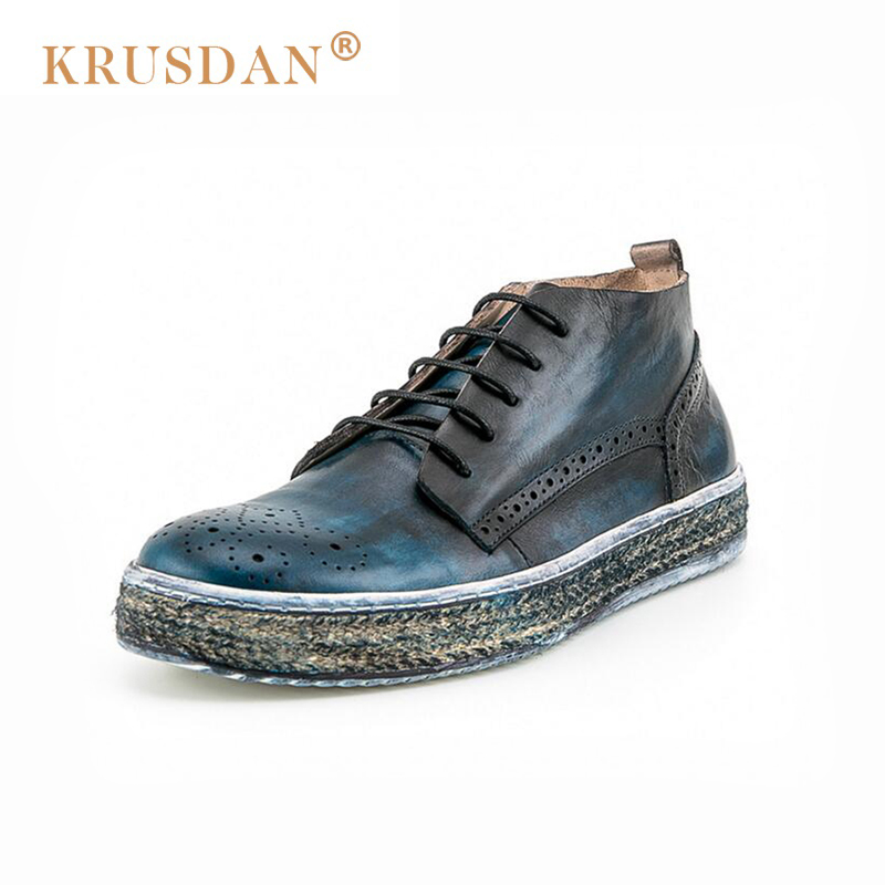 2018 New [krusdan]2018 Men Flats British Retro Stytle Genuine Leather Shoes Oxford High Quality Bullock Straw Bottom Casual big size flats shoes high quality genuine leather black spring winter men casual shoes male shoes real leather men oxford flats