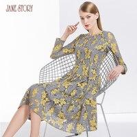 Джейн Story 2018 новые весенние Дизайн женское платье Кленовые Листья печати Кружево платье круглый Средства ухода за кожей шеи выдалбливают дв