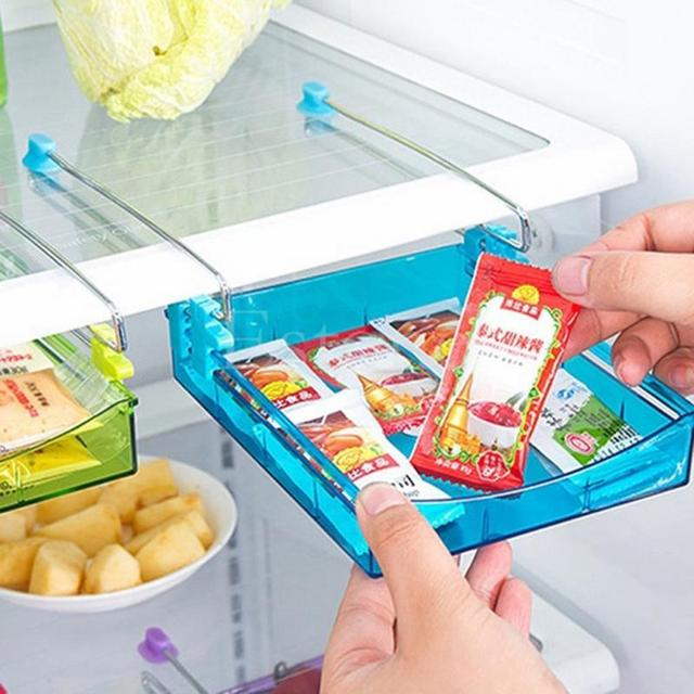 1Pcs High Quality Fridge Storage Rack Layer Partition Refrigerator Storage Holder Pull-out Drawer Organizer Kitchen Shelf Rack