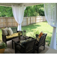 Woondecoratie Tuindecoratie Outdoor Sheer Curtains voor Porch - Water Repelent Exterior Voile Met Sliver Ring Grommet