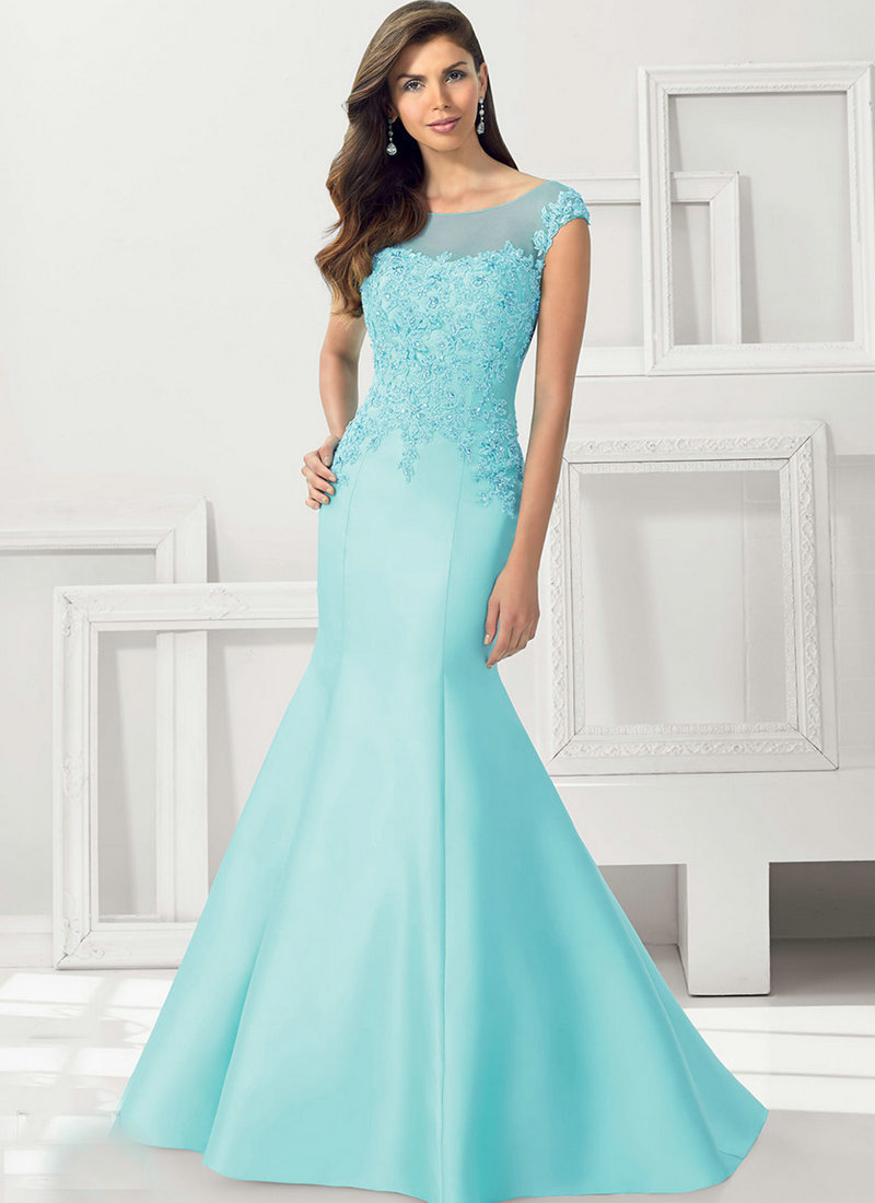 Aqua Satin vestidos madre de la novia Sleeveless Mermaid Dresses ...