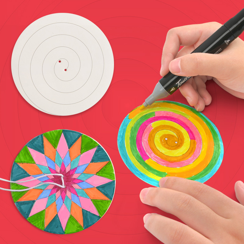 Children Toys Handmade Dream Flywheel Free DIY Graffiti Paper Wear Rope Hand Pull Flywheel Early Education Toys 3 Years Old Gift