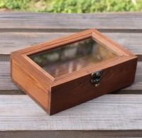 ZAKKA grocery style retro wooden box with glass cover storage box jewelry box desk orgainzer