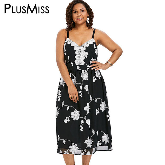 PlusMiss Plus Size 5XL Lace Crochet Spaghetti Strap Cami Dress 4XL Boho  Floral Chiffon Maxi Long Dresses XXXXL XXXL XXL Big Size dd3cce5b85f9