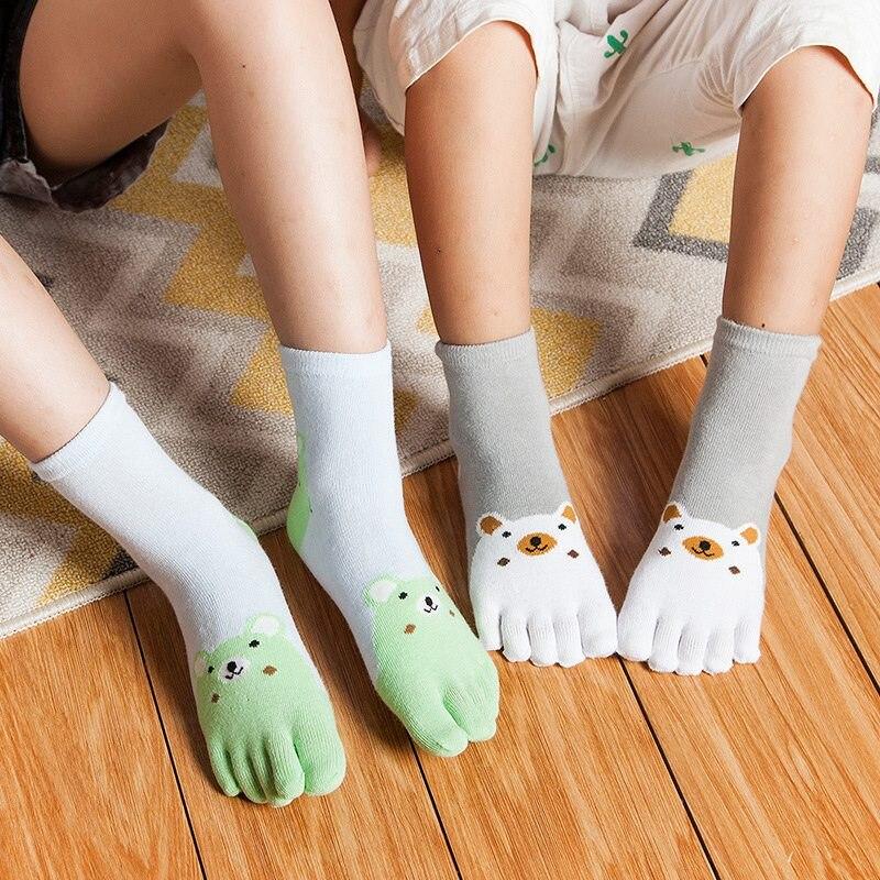 Kawaii Cute Cartoon Bear Five Toes Socks Kids Socks Girl Boy Children Hosiery Five Fingers Socks mens five toes cotton socks pure breathable sports running finger socks