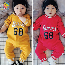 Купить с кэшбэком Lemonmiyu Baby Sports Rompers Cotton O-Neck Letter Toddler Kid Pajamas Long Sleeve Spring Autumn Covered Button Warm Clothing