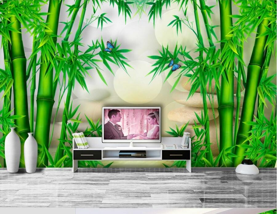 Custom wallpaper papel de parede bamboo 3d chinese for Chinese mural wallpaper