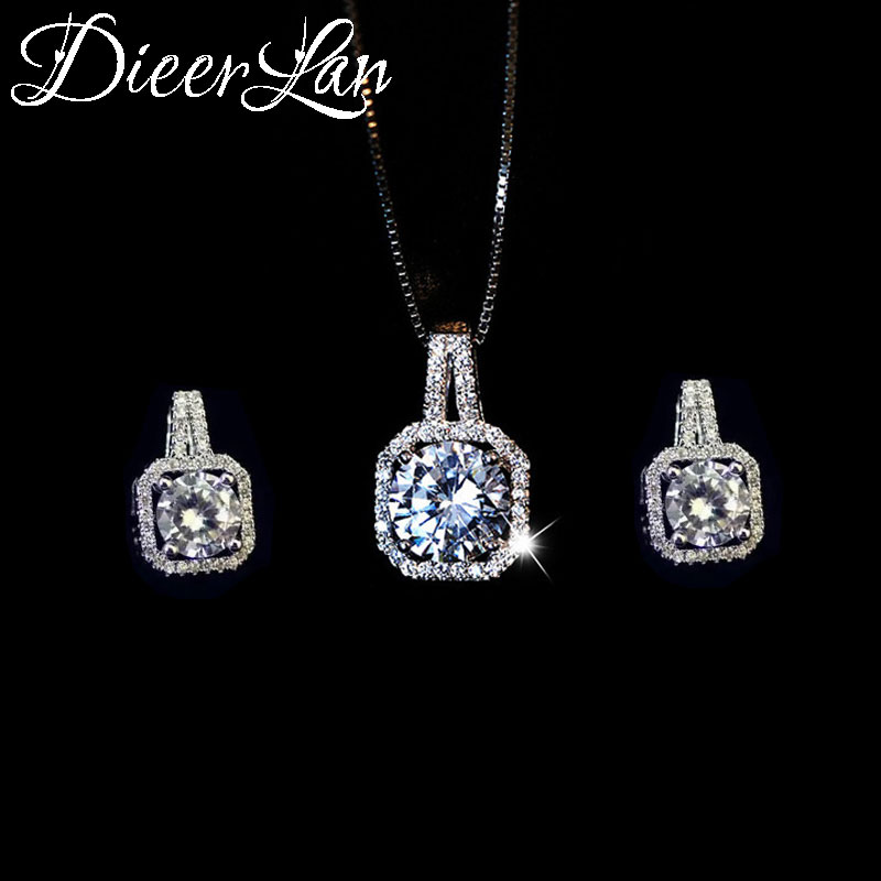 DIEERLAN Rhinestone Jewelry Sets 925 Sterling Silver Cubic Zirconia Geometric Choker Necklaces For Women Wedding Bridal Gifts