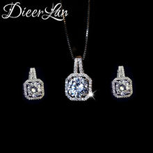DIEERLAN Rhinestone Jewelry Sets 925 Sterling Silver Cubic Zirconia Geometric Choker Necklaces for Women Wedding Bridal Gifts(China)