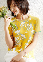 PIXY шелковая Футболка с принтом женская летняя с коротким рукавом желтые удобные футболки Небесно Голубой пуловер Ice Silk Knit женские Топы Одеж