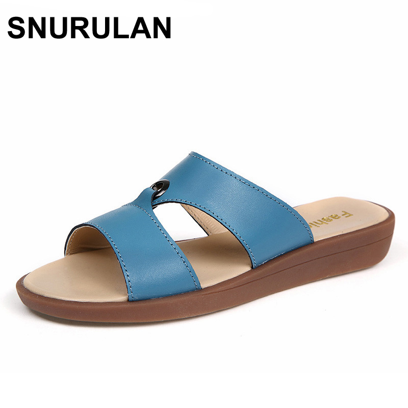 SNURULAN 2017 Casual Women's Sandals Real Cow Leather Flats Shoes Women Slip-On Summer Female Slides Leisure Beach Flip Flops women jelly shoes candy sandals luxury brand summer beach flats bowknot shoes casual lady fashional envirionmental shoes female