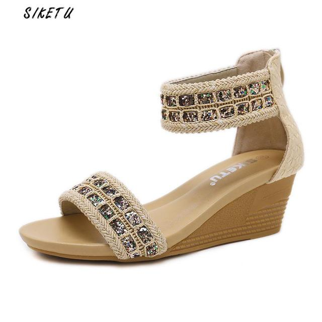 Siketu Zip Womens Beach Sandals Crystal High Heels Sandals Women Wedges  Women s Shoes 2018 New Rome Ladies Sandals Zapatos Mujer 6f52bc6f2d39