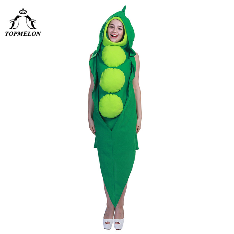 TOPMELON Unisex Cosplay Green Beans One Piece Jumpsuit Carnaval Festival Dress Up Costume Adult Costumes