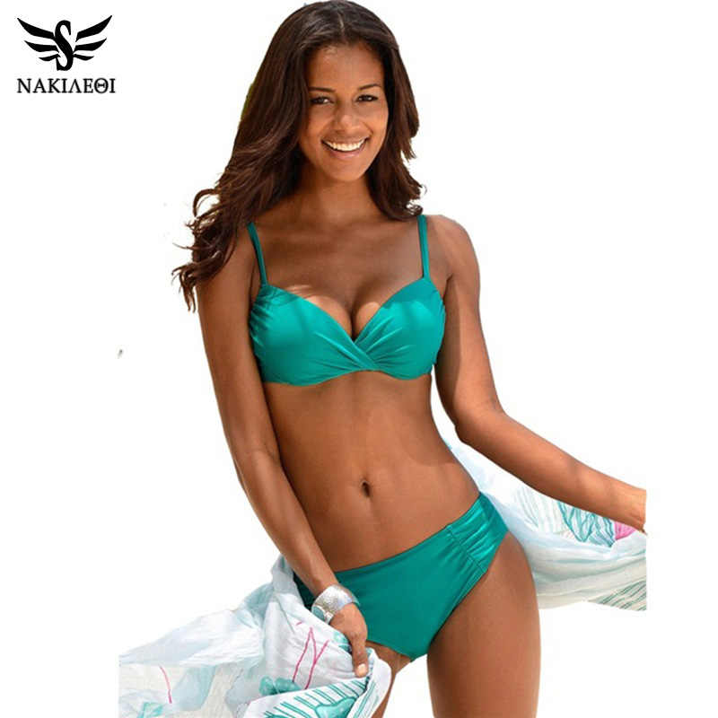 Nakiaeoi 2019 Mới Quyến Rũ Bikini Đồ Bơi Nữ Push Up Đồ Bơi Halter Top Brasil Bộ Bikini Đi Biển Mùa Hè Áo Tắm S ~ XL