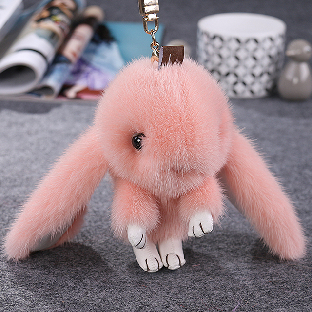 mini 13cm rabbits pokemon girl keychains real mink bunny keychain fur key chains bags bunnies Trinket pompon fur hare