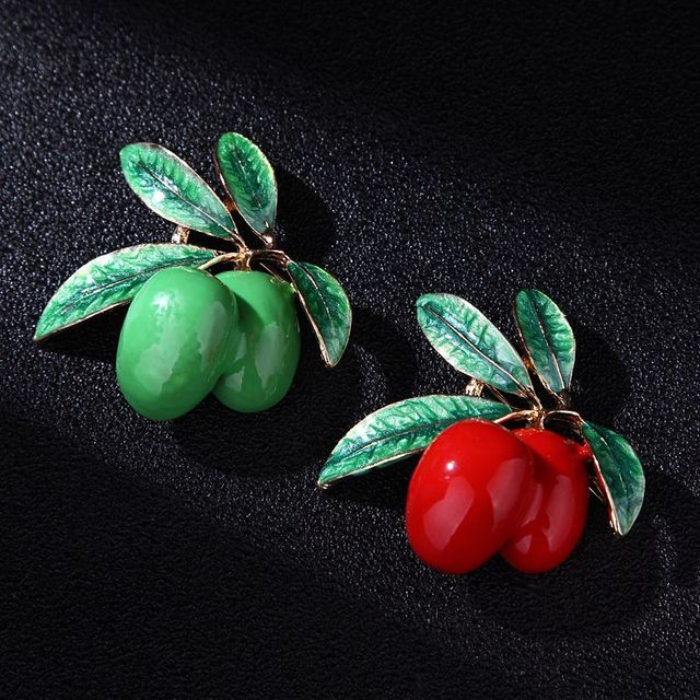 2019 Nuove Donne di Modo Delle Ragazze Rosso Verde di Frutta Forma di Oliva Spilla Smalto Pianta di Olivo Spilla Spille Fibbia Gioielli Accessori Regali