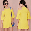 O-Neck Half Sleeve Off The Shoulder Casual Dresses Mini Loose Yellow Dress For Women 2017 Hot Sale Fashion Free Shipping Dresses