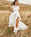 DK Bridal Simple Elegant Lace Short Sleeves Beach Wedding Dresses Sexy Backless Bridal Gown With High Slit