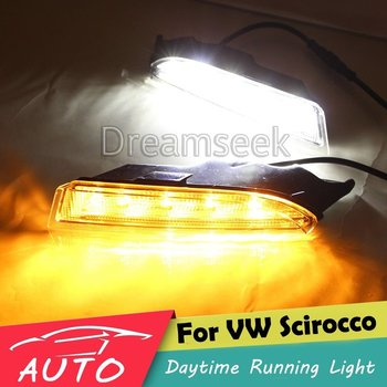 DRL for VW Scirocco R 2010 2011 2012 2013 LED Daytime Running Light Fog Lamp With Turn Signal