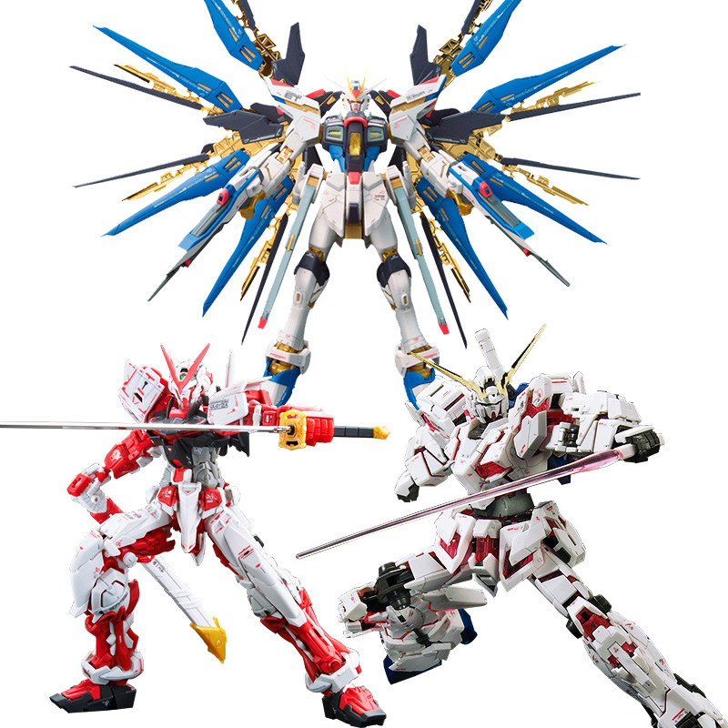 1:144 Bandai Model Gundam Plastic Model Assembly GUNPLA RG Attack Golden Red Heresy Unicorn Flying Wing 00r Angel Real Grade model fans m3 model pg 1 60 red heresy gundam special large sword backpack gift water paste free shipping