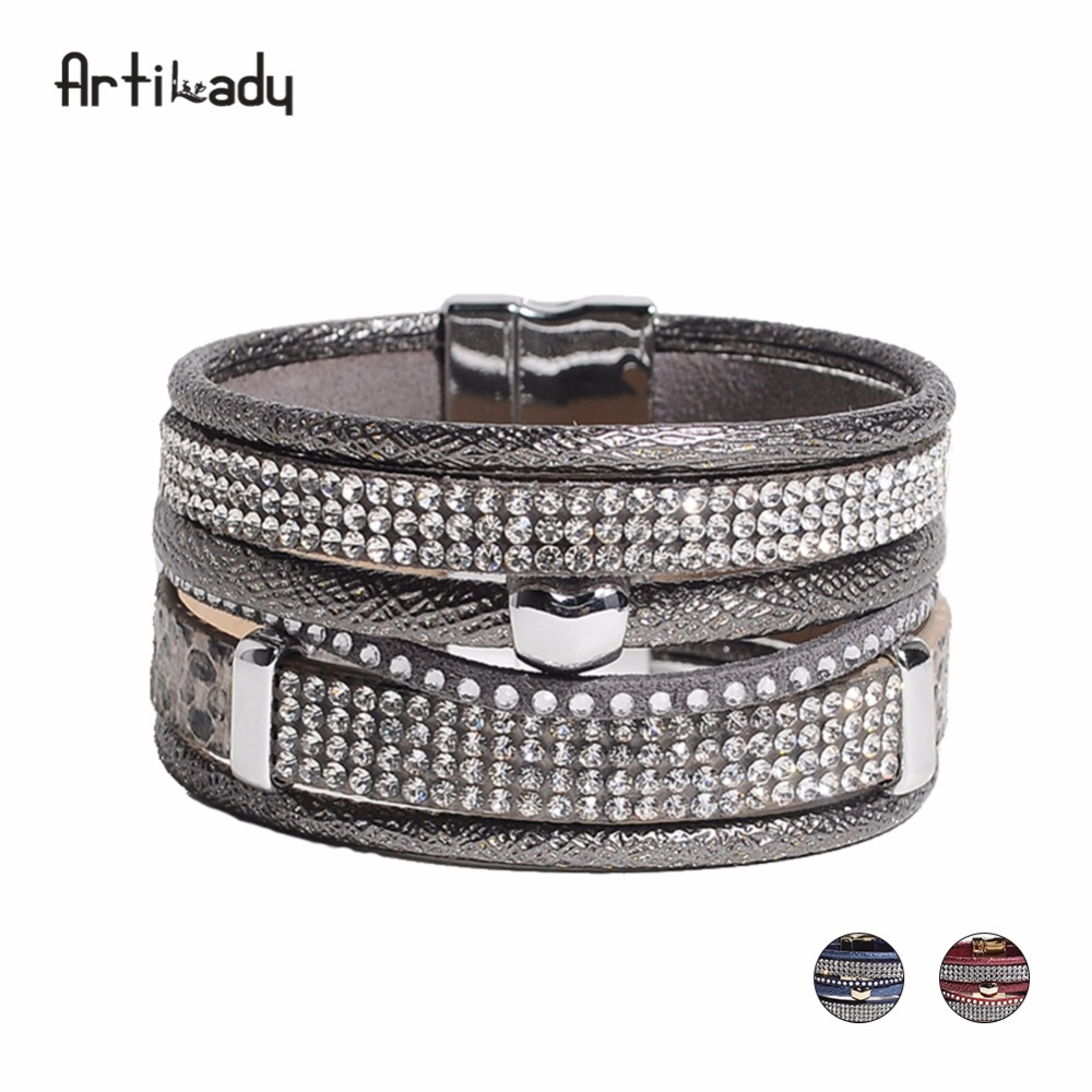 Artilady new pu leather crystal apple charm bangles grey red blue multi layer bracelets for women Valentine jewelry gift ...
